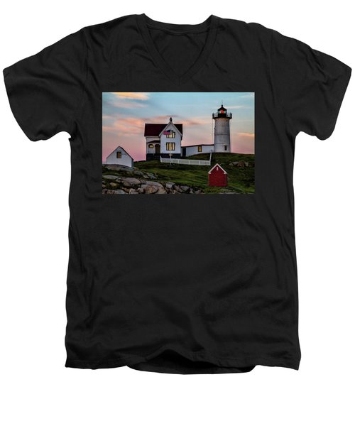Nubble Lighthouse At Dusk  Men's V-Neck T-Shirt