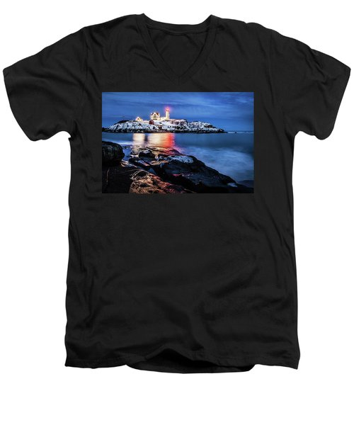 Nubble Lights Men's V-Neck T-Shirt