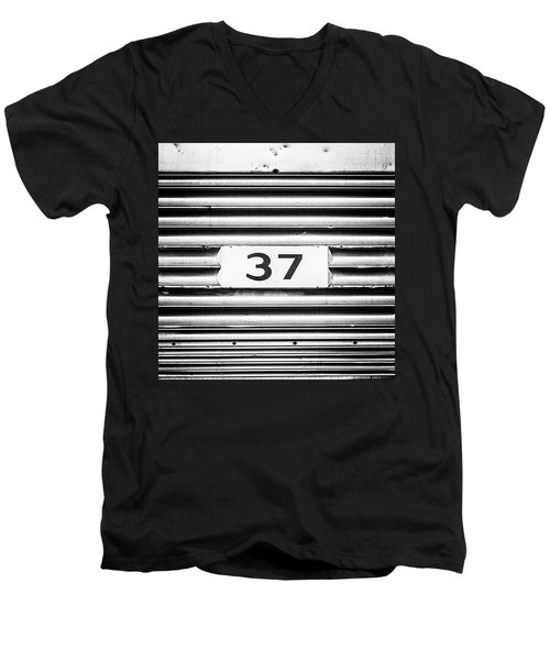 Men's V-Neck T-Shirt featuring the photograph Number 37 Metal Square by Terry DeLuco