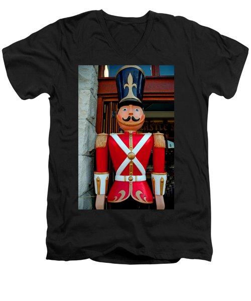 Men's V-Neck T-Shirt featuring the photograph Nutcracker Protector by LeeAnn McLaneGoetz McLaneGoetzStudioLLCcom