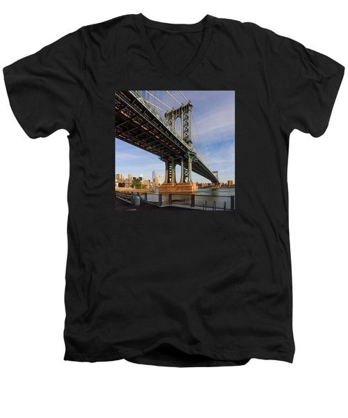 Ny Steel Men's V-Neck T-Shirt by Anthony Fields
