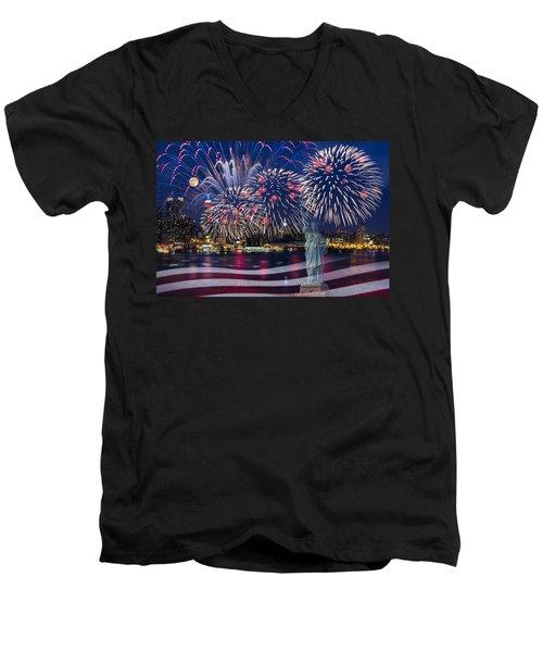 Nyc Fourth Of July Celebration Men's V-Neck T-Shirt