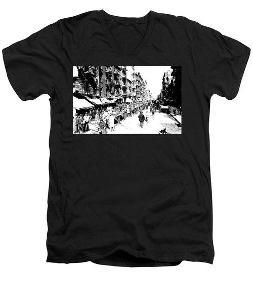 Nyc Lower East Side - 1902 -market Day Men's V-Neck T-Shirt by Merton Allen