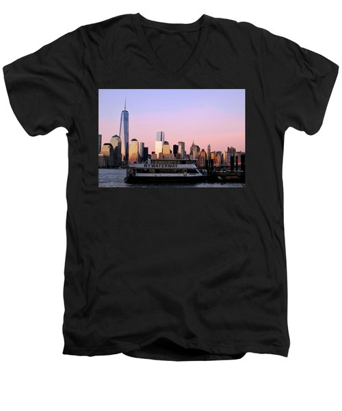 Nyc Skyline With Boat At Pier Men's V-Neck T-Shirt by Matt Harang