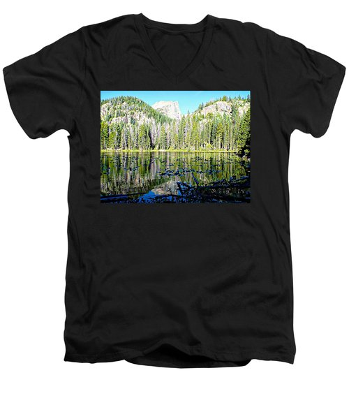 Nymph Lake And Flattop Mountain Men's V-Neck T-Shirt