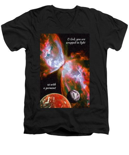 O God, You Are Wrapped In Light Men's V-Neck T-Shirt by Chuck Mountain