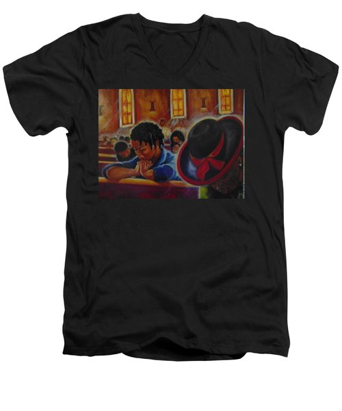 Men's V-Neck T-Shirt featuring the painting O My God by Emery Franklin