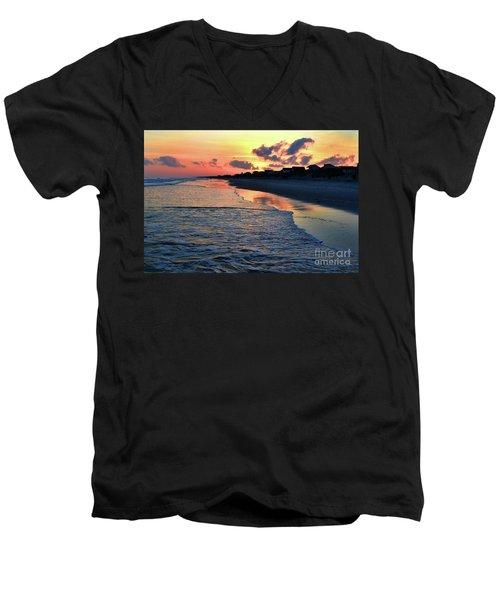 Oak Island Pastel Sunset Men's V-Neck T-Shirt