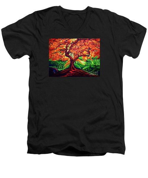 Men's V-Neck T-Shirt featuring the painting OAK by Viktor Lazarev