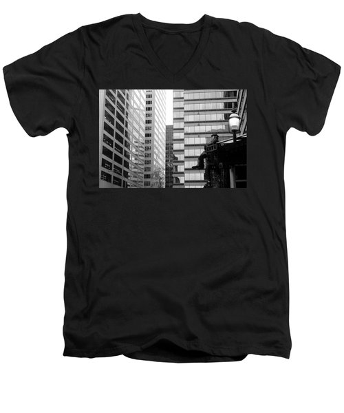 Men's V-Neck T-Shirt featuring the photograph Observing The City by Valentino Visentini