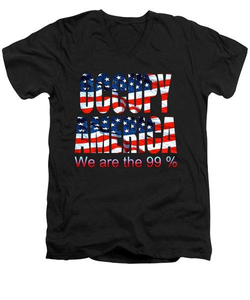 Occupy America 99 Percent - Tshirt Design Men's V-Neck T-Shirt by Art America Gallery Peter Potter