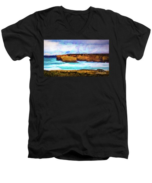 Men's V-Neck T-Shirt featuring the photograph Ocean Cliffs by Perry Webster