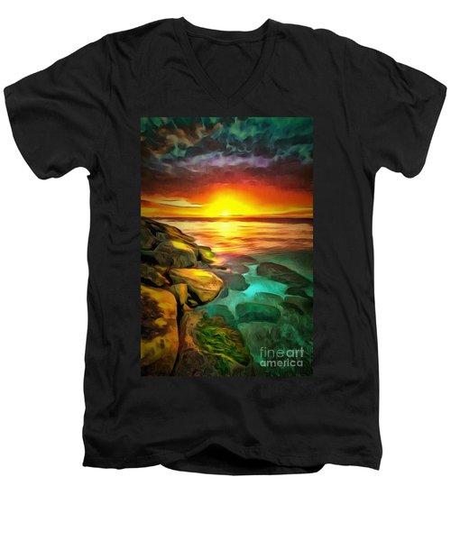Ocean Lit In Ambiance Men's V-Neck T-Shirt