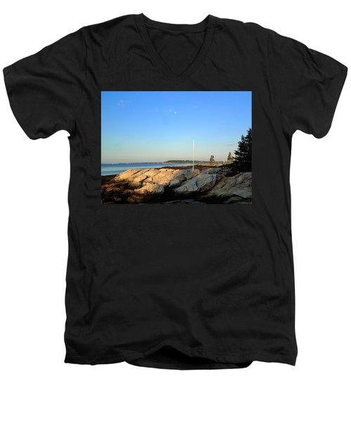 Ocean Point Men's V-Neck T-Shirt by Lois Lepisto