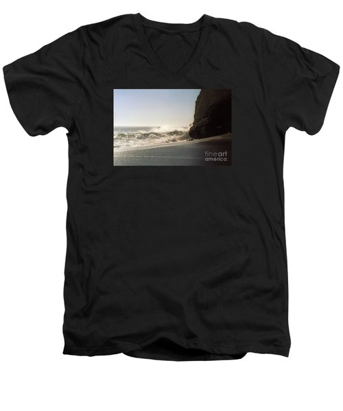 Ocean Rock Beach Headlands Men's V-Neck T-Shirt by Ted Pollard