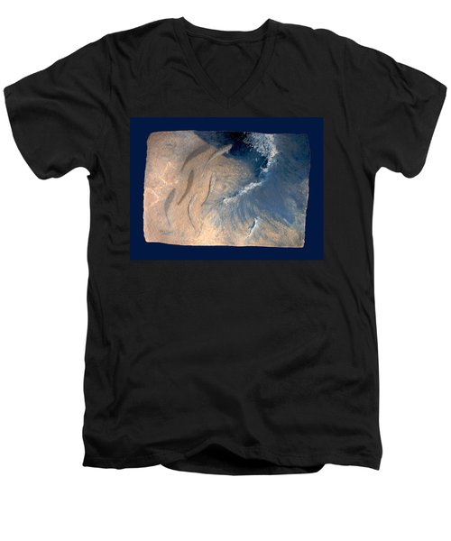 Men's V-Neck T-Shirt featuring the painting Ocean by Steve Karol