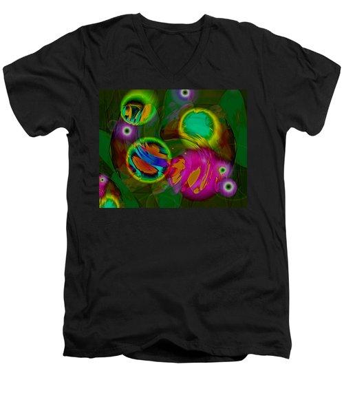 Men's V-Neck T-Shirt featuring the digital art Ocean Storm by Lynda Lehmann