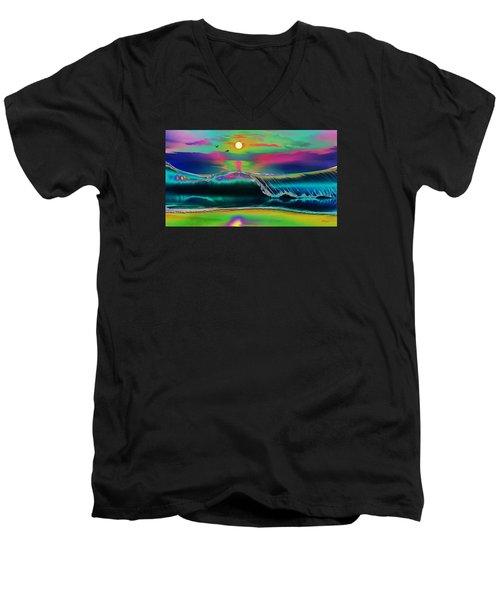 Ocean Sunset Abstract Men's V-Neck T-Shirt