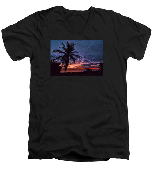 Men's V-Neck T-Shirt featuring the photograph Oceanfront Before Sunrise by Don Durfee