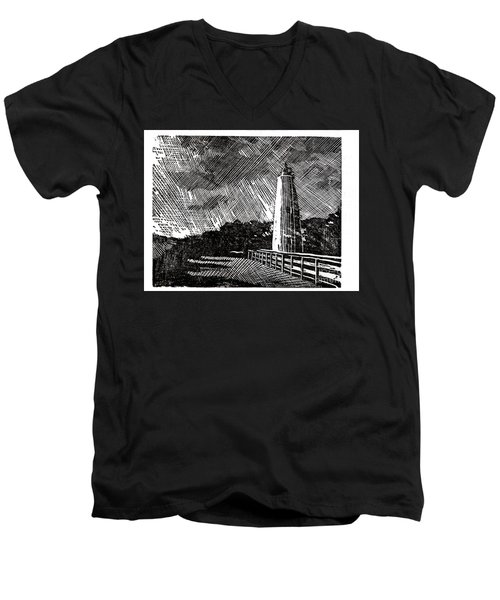 Men's V-Neck T-Shirt featuring the painting Ocracoke Island Lighthouse II by Ryan Fox