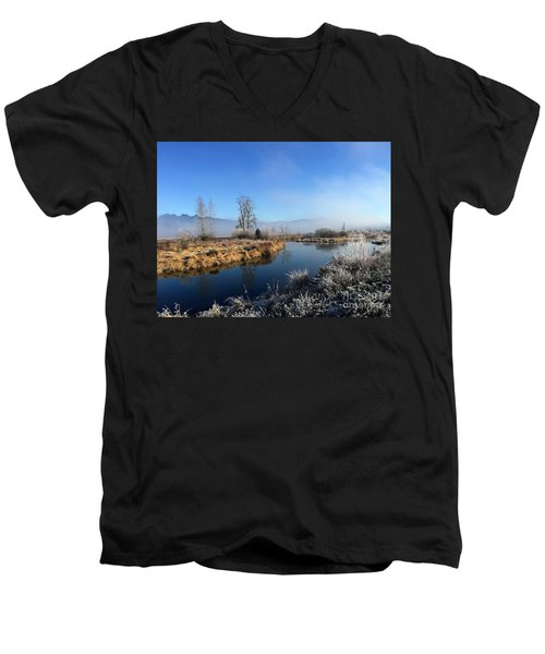 Men's V-Neck T-Shirt featuring the photograph October Morning by Victor K