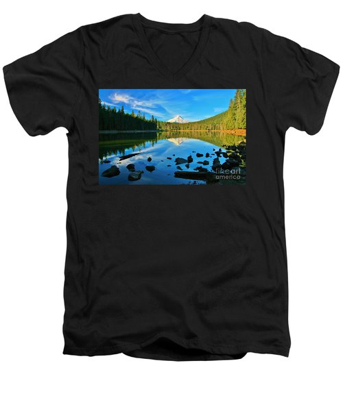 October On The Lake Men's V-Neck T-Shirt by Sheila Ping