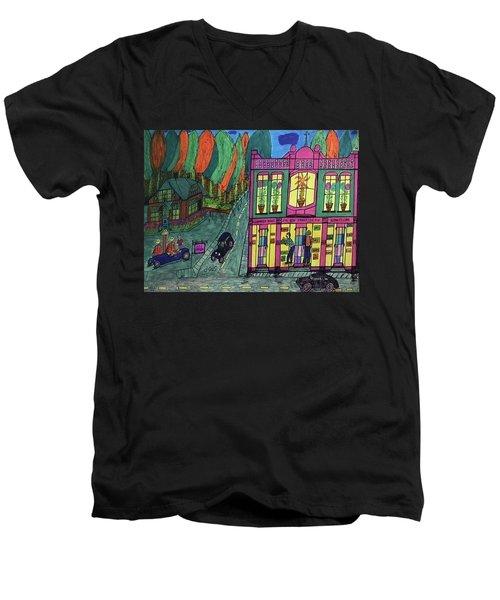Oddfellows Building. Historical Menominee Art. Men's V-Neck T-Shirt by Jonathon Hansen