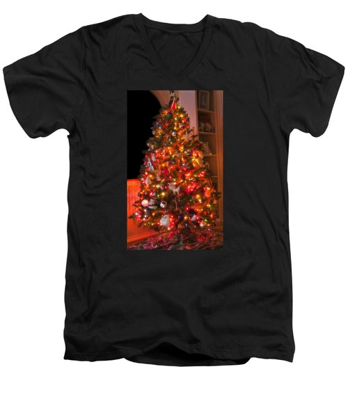Men's V-Neck T-Shirt featuring the photograph Oh Christmas Tree by Joan Bertucci