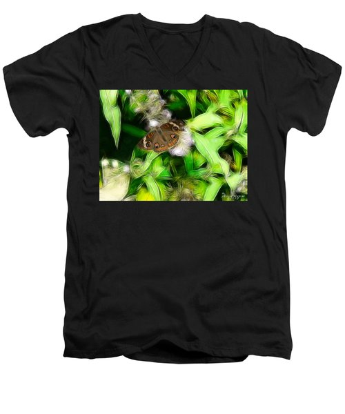 Men's V-Neck T-Shirt featuring the photograph Ohio Buckeye by EricaMaxine  Price
