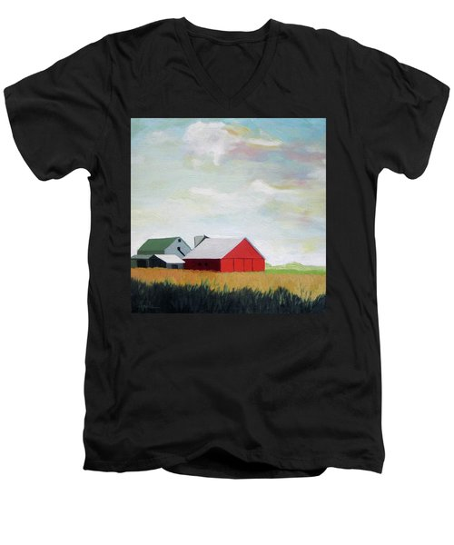 Ohio Farmland- Red Barn Men's V-Neck T-Shirt