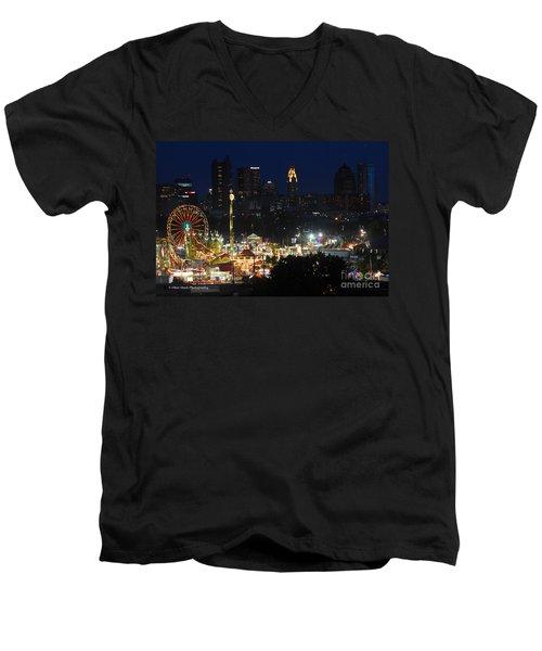 D3l-464 Ohio State Fair With Columbus Skyline Men's V-Neck T-Shirt