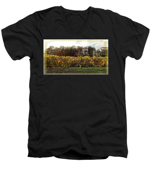 Men's V-Neck T-Shirt featuring the photograph Ohio Winery In Autumn by Joan  Minchak