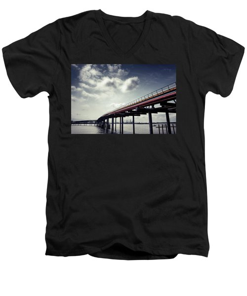 Oil Bridge Men's V-Neck T-Shirt by Joseph Westrupp