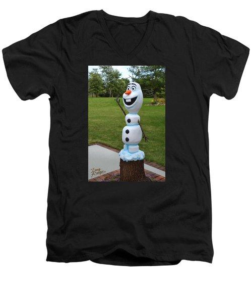 Olaf Wood Carving Men's V-Neck T-Shirt