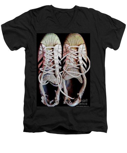 Men's V-Neck T-Shirt featuring the photograph Old Adidas Supestar II by Don Pedro De Gracia
