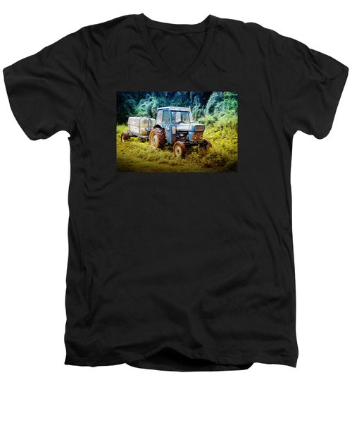 Old Blue Ford Tractor Men's V-Neck T-Shirt by John Williams