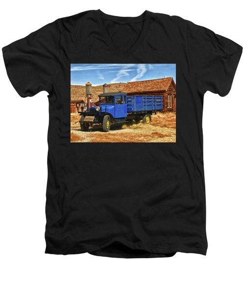 Old Blue 1927 Dodge Truck Bodie State Park Men's V-Neck T-Shirt by James Hammond