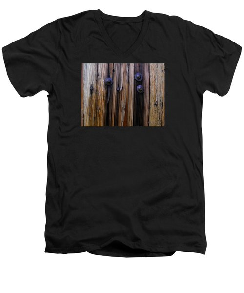 Old Door With Bolts And Nails Men's V-Neck T-Shirt