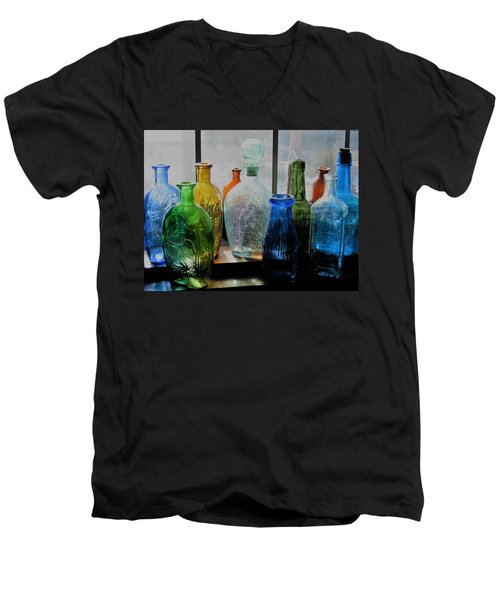 Men's V-Neck T-Shirt featuring the photograph Old Bottles by John Scates
