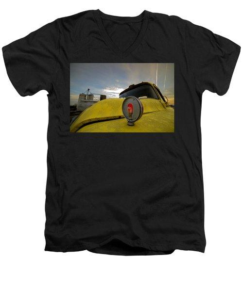 Old Chevy Truck With Grain Elevators In The Background Men's V-Neck T-Shirt