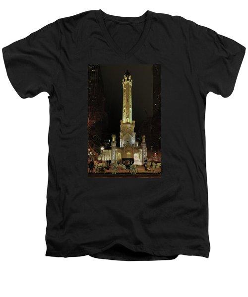 Old Chicago Water Tower Men's V-Neck T-Shirt by Alan Toepfer