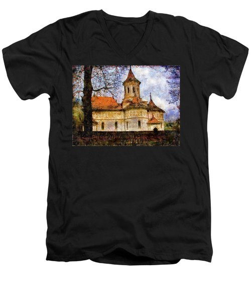 Old Church With Red Roof Men's V-Neck T-Shirt