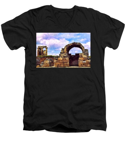 Men's V-Neck T-Shirt featuring the photograph Old Corinth Shop by Trey Foerster