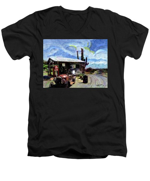 Old Desert Gas Station Men's V-Neck T-Shirt