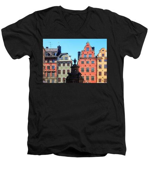 Old European Architecture Men's V-Neck T-Shirt by Teemu Tretjakov