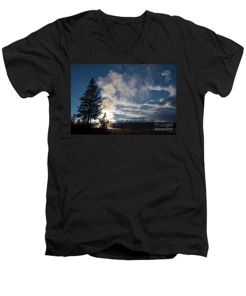 Old Faithfull At Sunset Men's V-Neck T-Shirt