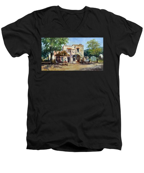 Men's V-Neck T-Shirt featuring the painting Old Farm by Rosario Piazza