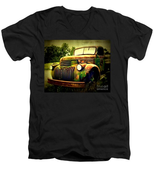 Old Flatbed 2 Men's V-Neck T-Shirt by Perry Webster
