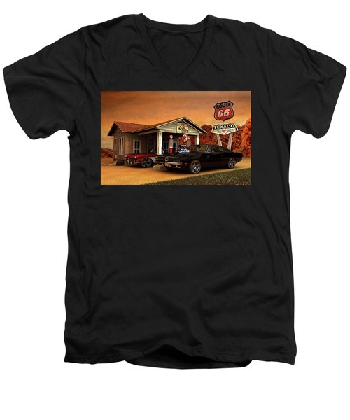 Old Gas Station American Muscle Men's V-Neck T-Shirt