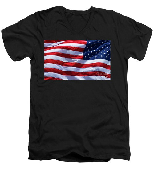 Men's V-Neck T-Shirt featuring the photograph Stitches Old Glory American Flag Art by Reid Callaway